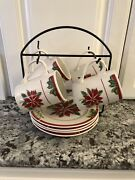 American Atelier Red Poinsettia Stoneware Snack Set W/stand Christmas Holiday