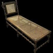 Rare Antique English Dark Oak Barley Twist Daybed Chaise Lounge Adjustable Back