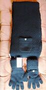 Black 100 Cashmere Knit Scarf/muffler And Gloves One Size Nwt
