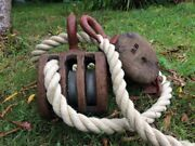 Antique Vintage Wooden Ships Boat Triple Pulley And Double Pulley