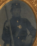 Civil War Soldier In Uniform With Rifle. Gilded 9th Plate Tintype. Union Case.