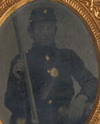 Civil War Soldier In Uniform With Rifle. Gilded, 9th Plate Tintype. Union Case.