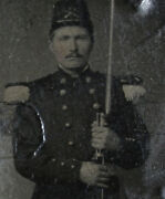 Civil War Soldier In Uniform, Rifle, Bayonet. Tinted 9th Plate Tintype.
