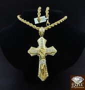 Real 10k Yellow Gold Mens Jesus Cross Charm/pendant With 30 Inch Long Rope Chain