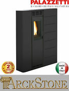Pellet Stove Space-saving Slim Ducted Palazzetti Violetta 7 74 Kw Black