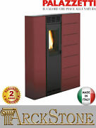Pellet Stove Space-saving Slim Ducted Palazzetti Violetta 7 74 Kw Red
