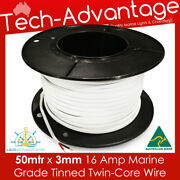 50m X 3mm 16a Marine/boat Tinned Two/twin Core Led Wire/electrical Lights Cable