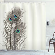 Peacock Shower Curtain Feathers Of Exotic Bird Print For Bathroom