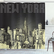 Retro Shower Curtain Grunge Empire State Nyc Print For Bathroom