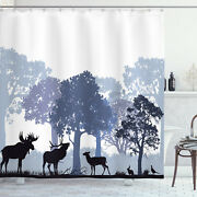 Moose Shower Curtain Gray Wild Forest Animals Print For Bathroom