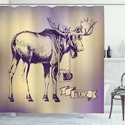 Moose Shower Curtain Hipster Deer With Camera Print For Bathroom