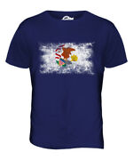 Illinois State Distressed Flag Mens T-shirt Top Illinoisan Shirt Jersey Gift