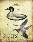 Wood Duck Hunting Patent Art Print Motivational Posters Vintage Decoys Calls