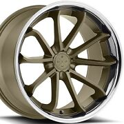 22x10.5 Blaque Diamond Bd23 Bronze W/chrome Lip Concave Wheels Rims