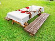 Christmas Outdoor Picnic Tablecloth Funny Santa Reindeer Print 58 X 120 Inches