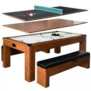 Combo Game Table Cherry 7ft Air Hockey W Table Tennis Conversion Top 2 Benches