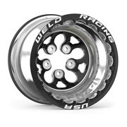 Weld Alpha-1 15 X 10, 5 X 4.5, 4 Bs, Polished Shell, Black Center/ring