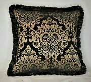 Black And Gold Modern Embroidered Chenille Fringed Decorative Throw Pillow