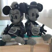 Disney Right-on Denim Fabric Mickey Minnie Mouse Plush Doll Toy Collaboration