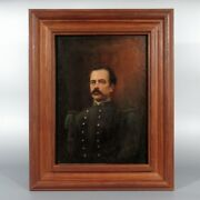 Antique French Oil Painting Portrait Of A French Army Infantry Soldier 1871-1882
