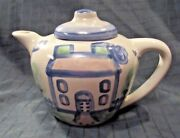M A Hadley Folk Art Teapot With Lid Blue House Country House Handpainted 6 Tall