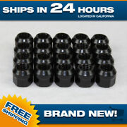 1/2x20 Black Lugnuts - Set Of 500 Pcs - New Steel Open Ended Nuts