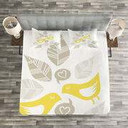 Abstract Quilted Bedspread And Pillow Shams Set Art Deco Birds Leaves Print