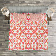Coral Quilted Bedspread And Pillow Shams Set Vintage Art Deco Pattern Print