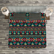 Vintage Quilted Bedspread And Pillow Shams Set Eastern Ethnic Sketchs Print