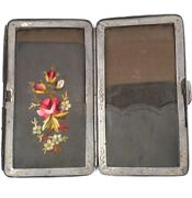 Antique Victorian Leather Floral Embroidered Coin Purse Calling Card Case Wallet