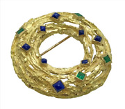 Beautiful One Of A Kind 18k Yellow Gold, Emerald And Lapiz Pin Brooch, Heavy