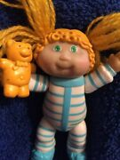 Rare Miniature Cabbage Patch Kid 1984 With Yellow Yarn Hair And Teddy Bear.