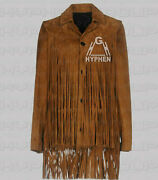 Women's Western Native America Brown Button Suede Leather Jacket Long Fringes