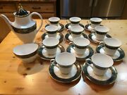 Royal Doulton Carlyle Footed Cups Saucers 11 Open Sugar Bowl 1 And Coffee Pot
