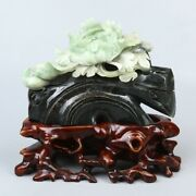 Chinese Exquisite Hand-carved Flowers And Birds Carving Dushan Jade Statue