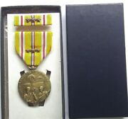 Ww Ii U.s.asiatic Pacific Campaignmedalset In Box With 3 Battle Stars