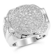 Heavy Wide 14k White Gold 2.3c Pave Round Diamond Mens Right Hand Ring