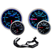 Prosport 52mm Universal Blue/white Gauge Kit Set Turbo Boost And Water Temperature