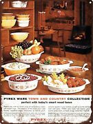 Pyrex Ware Town And Country Nesting Bowls Wall Home Decor Metal Sign 9x12 60637