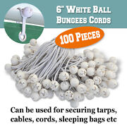 6 100 Pack Ball Bungees Cord White Party Tent Tie Downs Canopy Gazebo Straps
