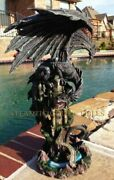 Mighty Black Dragon Protecting Castle Large 23.5 Height Figurine Resin Made