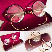 Rare Antique 1930s 18ct Rolled Gold Andldquoalgha- Ukandrdquo Eyeglasses / Spectacles And Case