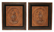 Charming Pair Of Wood Carved Bird Relief Plaques Circa 1900