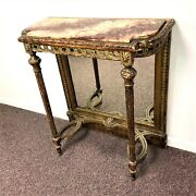 Antique French Louis Xvi Pier Hall Table With Marble Top And Mirror