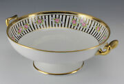 Japanese Porcelain Twin Handled Footed Bowl Nippon Morimura Hand Painted