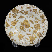 Meissen Germany Porcelain Gold Leaf And Floral High Relief Raised Bowl C. 1920