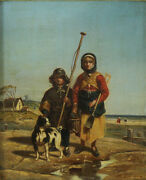 Camille Roqueplan French 1803 Andndash 1855 Oil Painting Woman Boy Dog On Beach