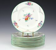 12pc Set Wedgwood Cowell And Hubbard Co. Dinner Plates. Hand Painted Floral, Green
