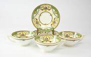 """6pc Minton Tea Cup And Saucer Set, """"kenora"""" Hand Painted With Raised Enamel"""