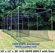 Batting Cage Net 10and039 X 12and039 X 30and039 42 Hdpe 60ply With Door Heavy Duty Baseball